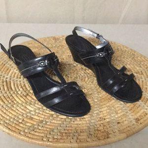 Talbots black wedge sandals size 9